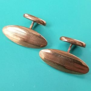 Vintage etched oval cuff links cufflink gold tone